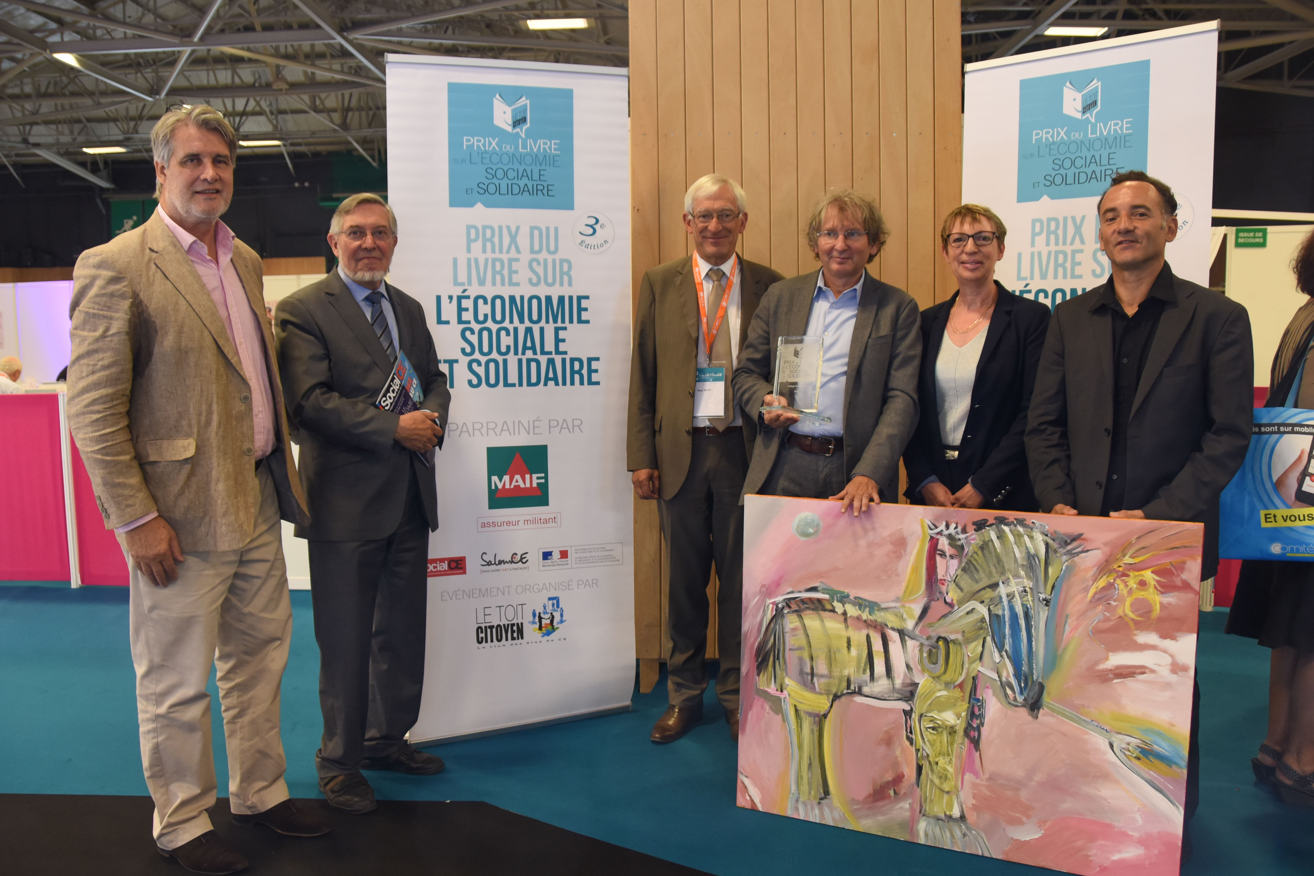 de gauche à droite : Patrick Gobert, Jean Auroux, Roger Belot, Hervé Defalvard, Annick Valette et Eric Besson - photo Catherine Cros -