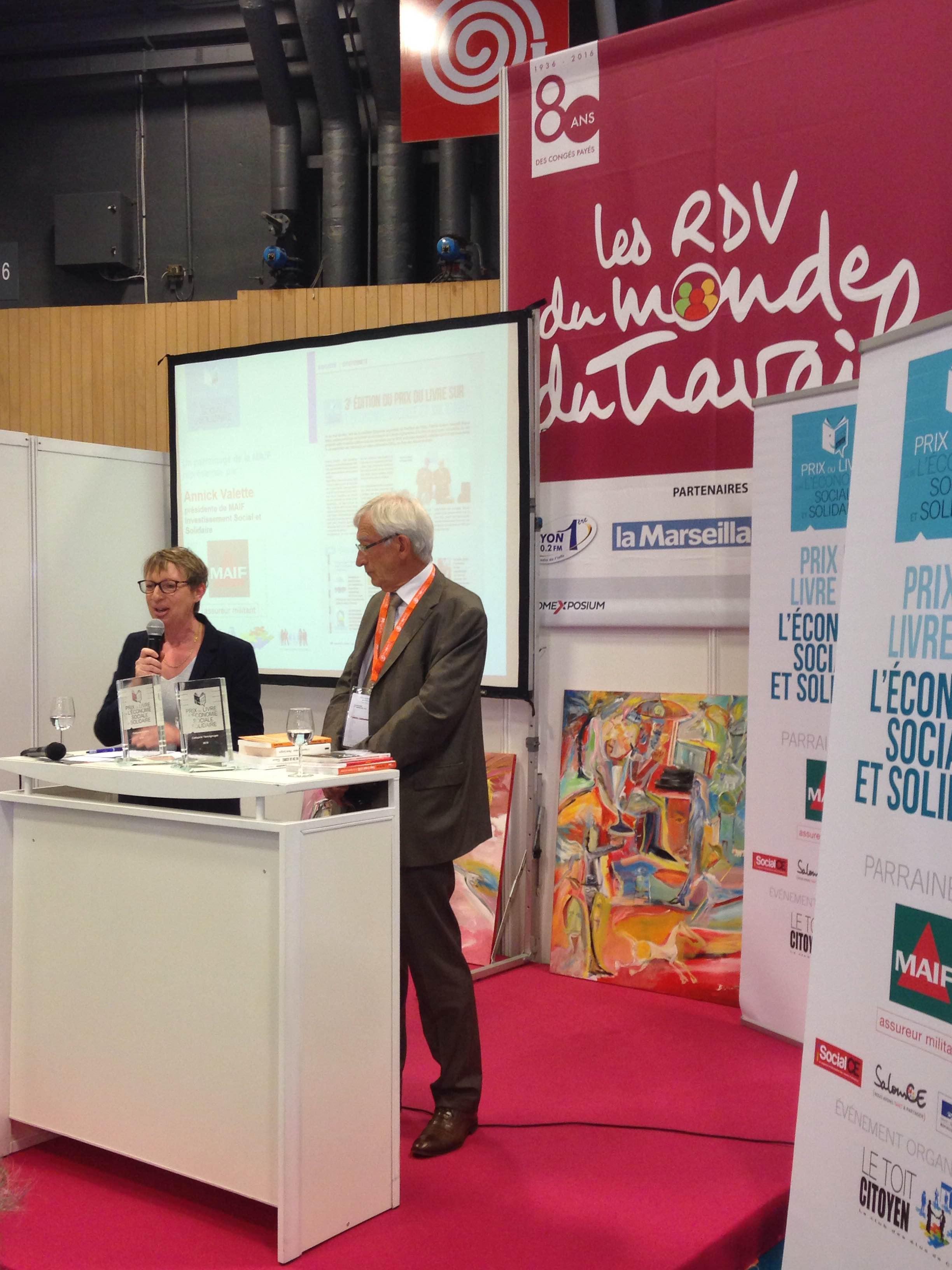 Annick Valette et Roger Belot sont les meilleurs ambassadeurs du Prix par leur rôle actif à la MAIF ou à la Chambre Française de l'ESS - photo Toit Citoyen - -